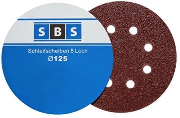SBS Schleifscheiben Klett-Schleifpapier Ø 125 mm 60 Stück Körnung je 10 x 40/60/80/120/180/240 Exzenter-Schleifer 8 Loch -